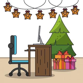 Kerstmis in de office-illustratie