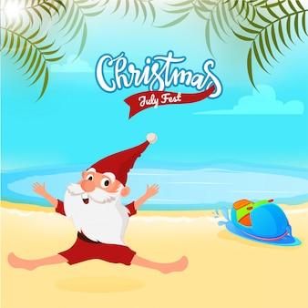 Kerstmis in juli fest flyer met de kerstman.