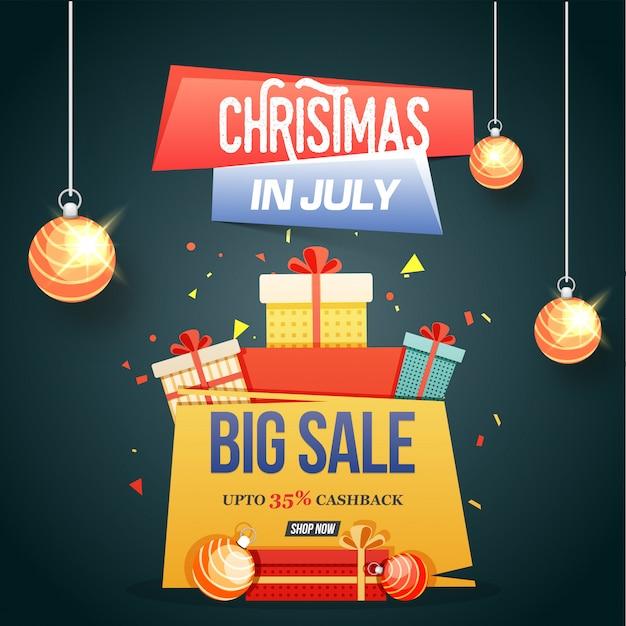 Kerstmis in juli, grote verkoop, poster, banner of flyer ontwerp.