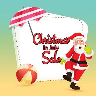 Kerstmis in juli verkoop met de kerstman.