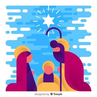 Kerstmis kerststal silhouet achtergrond