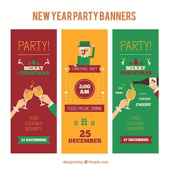 Kerstmis kleur partij banners pakken