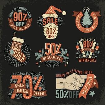 Kerstmis korting nieuwjaar verkoop vintage retro.