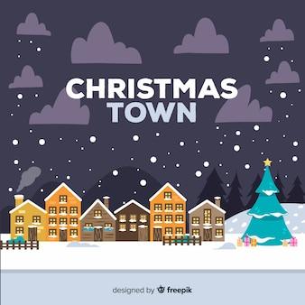 Kerstmis koude stad achtergrond