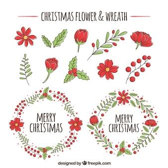 Kerstmis kransen en bloemen sketches