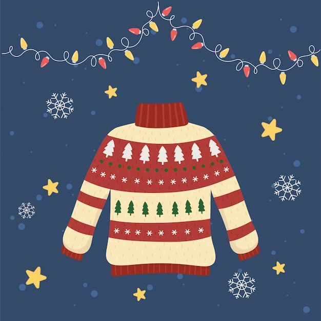 Kerstmis lelijke trui partij decoratieve pijnbomen en lichten