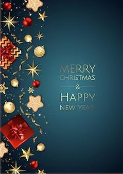Kerstmis lichte achtergrond met gouden xmas decoraties, merry christmas wenskaart,