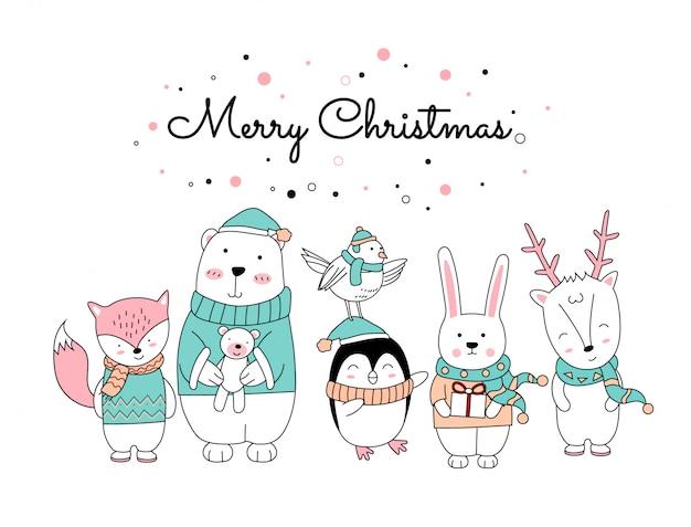 Kerstmis met de schattige dieren cartoon staan