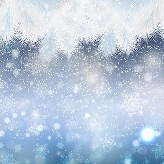 Kerstmis met dennenboomgrens