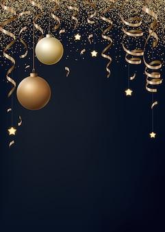 Kerstmis met gouden serpentines, confetti en kerstballen.