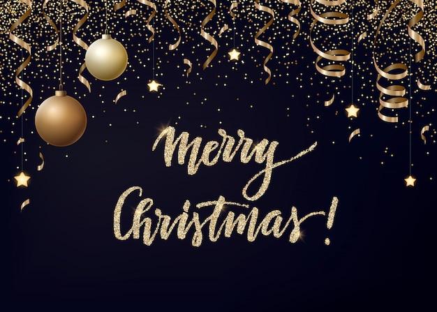 Kerstmis met gouden serpentines, glitter, confetti en kerstballen.
