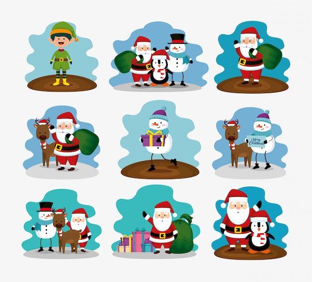 Kerstmis met rendieren en set tekens