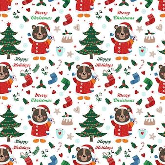 Kerstmis naadloos patroon met beer