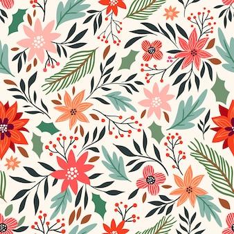 Kerstmis naadloos patroon met bloemen seizoengebonden