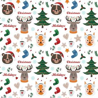 Kerstmis naadloos patroon met bosdieren
