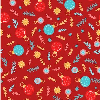 Kerstmis naadloos patroon met hand getrokken elementen: giftdoos, kerstmisbal, brunch.