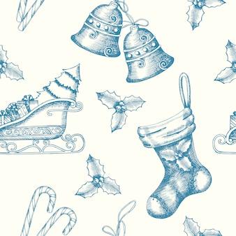 Kerstmis naadloos patroon met hand getrokken krabbelklokken