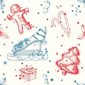 Kerstmis naadloos patroon met hand getrokken peperkoek