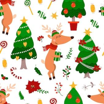 Kerstmis naadloos patroon met herten en kerstboom