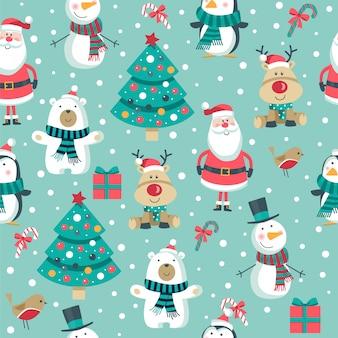 Kerstmis naadloos patroon met kerstman op blauwe achtergrond.