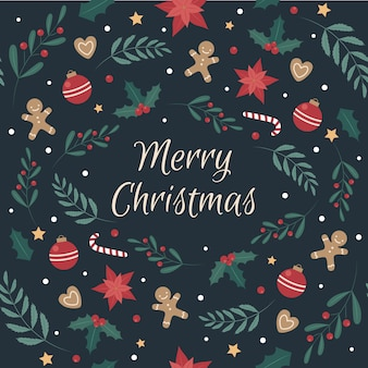 Kerstmis naadloos patroon met kerstmiskoekjes en decoratie.