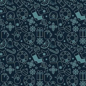 Kerstmis naadloos patroon met kerstmispictogrammen.