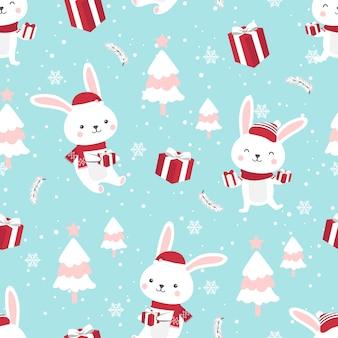 Kerstmis naadloos patroon met konijntje