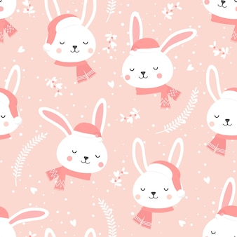 Kerstmis naadloos patroon met konijntjesachtergrond