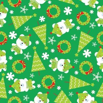 Kerstmis naadloos patroon met leuke ijsbeer en kerstmisboom op groene achtergrond