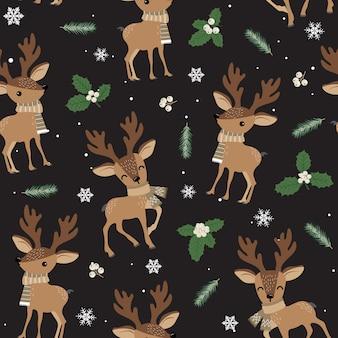 Kerstmis naadloos patroon met rendier