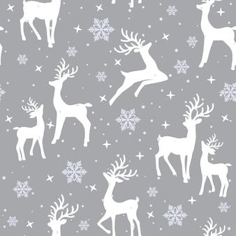 Kerstmis naadloos patroon met rendierachtergrond