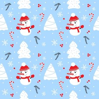 Kerstmis naadloos patroon met sneeuwman.