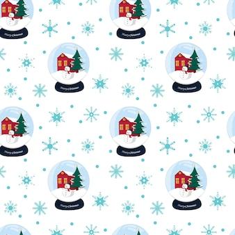 Kerstmis naadloos patroon met sneeuwvlokken en sneeuwbalbol op witte achtergrond. hand getekende vectorillustratie