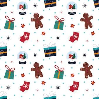 Kerstmis naadloos patroon met sneeuwvlokken, heden, sneeuwbal, sok, peperkoekman op witte achtergrond