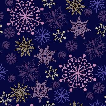 Kerstmis naadloos patroon met sneeuwvlokken. vectorafbeeldingen.