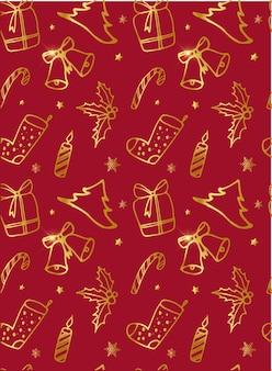 Kerstmis naadloos patroon op een rode achtergrond