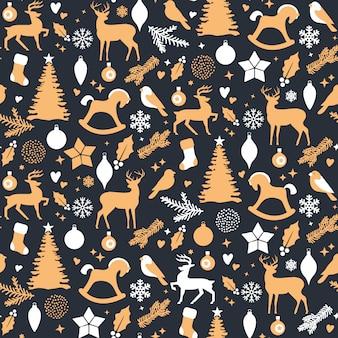 Kerstmis naadloos patroon - witte en gouden vakantiepictogrammen op donkere achtergrond