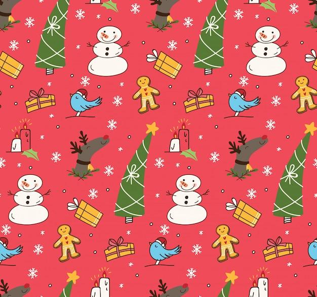 Kerstmis naadloze achtergrond in doodle stijl illustratie