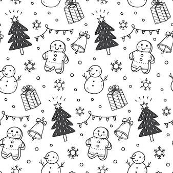 Kerstmis naadloze achtergrond in doodle stijl