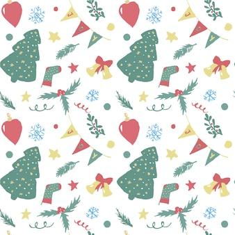 Kerstmis naadloze patroon van hand getrokken objecten