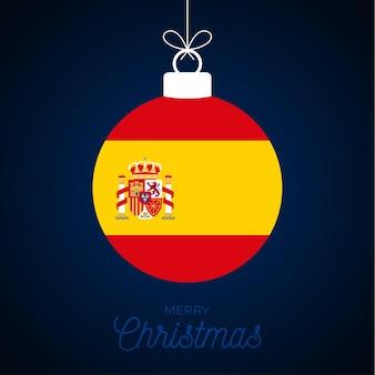 Kerstmis nieuwjaar bal met de vlag van spanje. wenskaart vectorillustratie. merry christmas ball met vlag geïsoleerd op een witte achtergrond