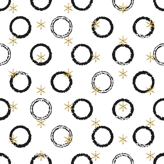 Kerstmis nieuwjaar gouden geschenk ronde stickers.