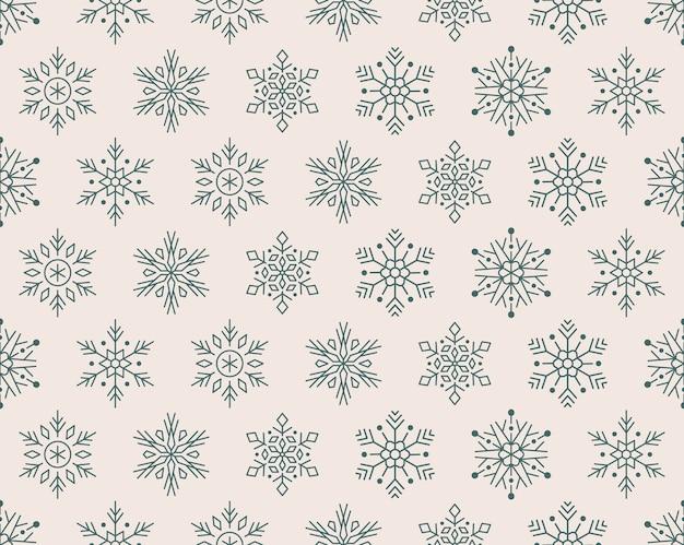 Kerstmis, nieuwjaar naadloze patroon, sneeuwvlokken pictogrammen.