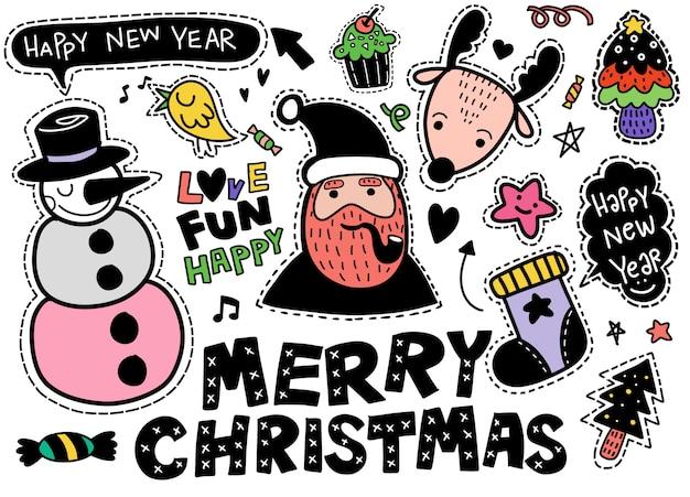 Kerstmis, nieuwjaar schattige symbolen sticker set