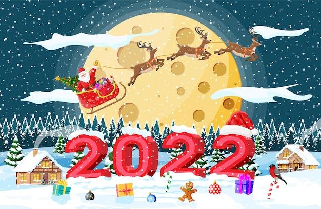 Kerstmis nieuwjaar winterlandschap