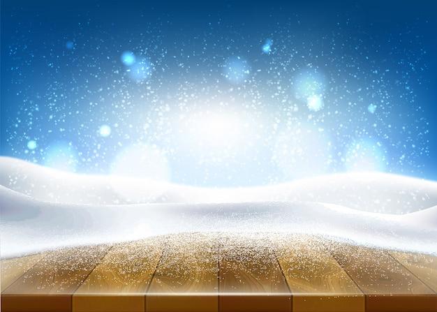 Kerstmis, nieuwjaars vakantie poster, banner achtergrond met houten tafel bedekt met ijs, sneeuw met bevroren winter, ijzige onscherpe achtergrond.