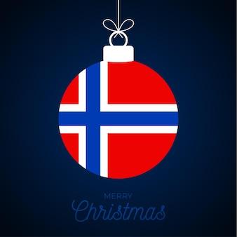 Kerstmis nieuwjaarsbal met de vlag van noorwegen. wenskaart vectorillustratie. merry christmas ball met vlag geïsoleerd op een witte achtergrond