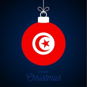 Kerstmis nieuwjaarsbal met de vlag van tunesië. wenskaart vectorillustratie. merry christmas ball met vlag geïsoleerd op een witte achtergrond
