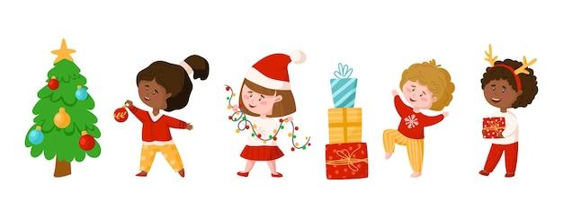 Kerstmis of nieuwjaar kinderen clipart