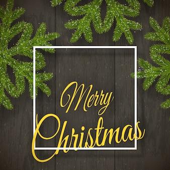 Kerstmis op donker hout met wensen, dennenvlokken.